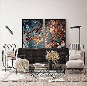 Conjunto com 02 quadros decorativos Abstrato Marrom, Azul e Cobre