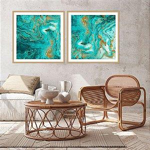 Conjunto com 02 quadros decorativos Abstrato Turquesa e Dourado