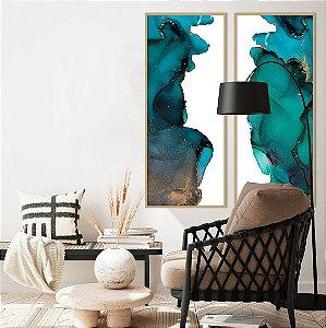 Conjunto com 02 quadros decorativos Abstrato Verde, Azul e Cobre