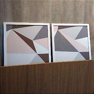 ENVIO IMEDIATO - Conjunto com 02 quadros decorativos Geométrico Cinza, Rosa e Marrom 40x40cm (LxA) Moldura cor Branco