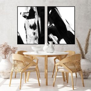 Conjunto com 02 quadros decorativos Pintura Abstrata