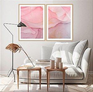 Conjunto com 02 quadros decorativos Abstrato Rosa e Lilás