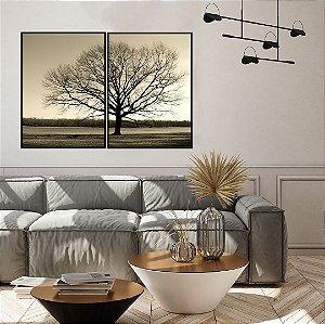 Conjunto com 02 quadros decorativos Árvore
