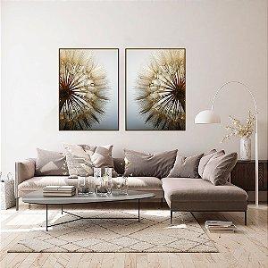 Conjunto com 02 quadros decorativos Dente-de-leão Duo
