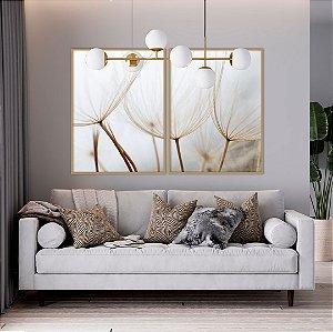 ENVIO IMEDIATO - Conjunto com 02 quadros decorativos Dente-de-leão 50x70cm (LxA) Moldura Cobre