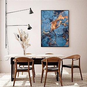 Quadro decorativo Abstrato Azul e Cobre
