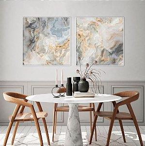 Conjunto com 02 quadros decorativos Abstrato Azul Suave