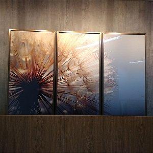 ENVIO IMEDIATO - Conjunto com 03 quadros decorativos Dente-de-leão 50x100cm (LxA) Moldura Cobre