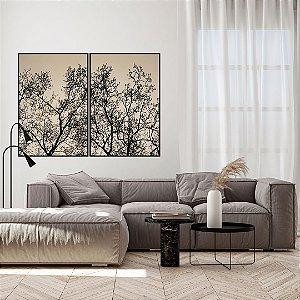 Conjunto com 02 quadros decorativos Galhos de Árvore