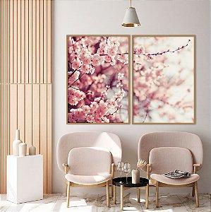 Conjunto com 02 quadros decorativos Galhos Cerejeira 50x70cm (LxA) Moldura Amadeirada