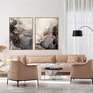 Conjunto com 02 quadros decorativos Abstrato Preto, Dourado e Cobre 60x80cm (LxA) Moldura cor Cobre