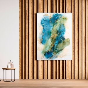 Quadro Decorativo Abstrato Verde, Azul e Dourado 70x90cm (LxA) Moldura cor Branco