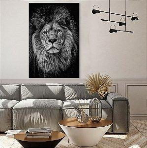 Quadro Decorativo Leão 70x90cm (LxA) Moldura na cor Preto