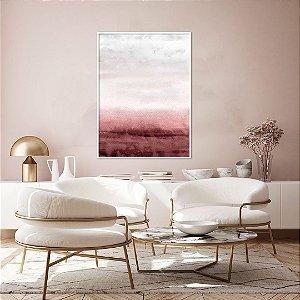 ENVIO IMEDIATO - Quadro Decorativo CANVAS Abstrato Marsala, Rosa e Cinza 70x90cm (LxA) Moldura Canaleta na cor Branco