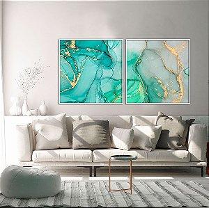 Conjunto com 02 Quadros Decorativos CANVAS Abstrato Verde e Azul 80x80cm (LxA) Moldura Canaleta na cor Branco