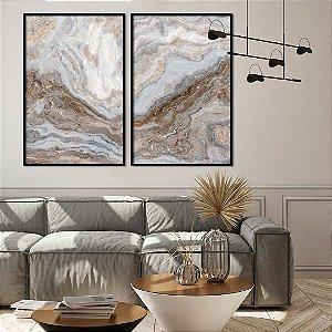 Conjunto com 02 Quadros Decorativos CANVAS Marmorizado Cinza  80x120cm (LxA) Moldura Canaleta na cor Preto