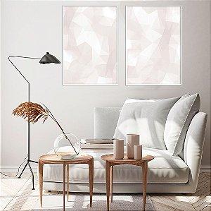ENVIO IMEDIATO Conjunto com 02 quadros decorativos CANVAS Geométrico Rosa Suave 40x60cm (LxA) Moldura Canaleta cor Branco