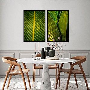 ENVIO IMEDIATO - Conjunto com 02 quadros decorativos Folhas Bananeira 52x72cm (LxA) Moldura cor Preto