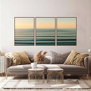 Conjunto com 03 quadros decorativos Horizonte Abstrato