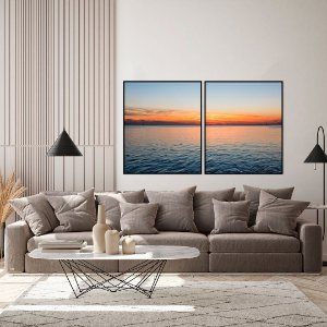 Conjunto com 02 quadros decorativos Pôr do Sol no Mar