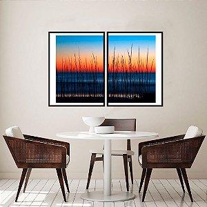 Conjunto com 02 quadros decorativos Nascer do Sol