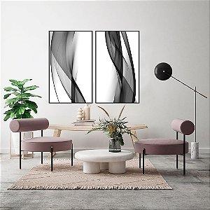 Conjunto com 02 quadros decorativos Abstrato Preto e Branco