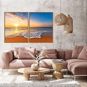 Conjunto com 02 quadros decorativos Pôr do Sol na Praia