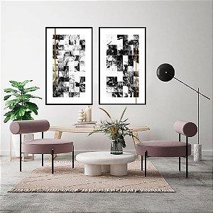 Conjunto com 02 quadros decorativos Abstrato Preto, Branco e Dourado