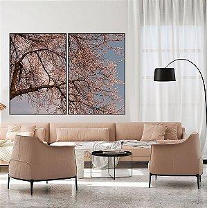 Conjunto com 02 quadros decorativos Árvore Cerejeira