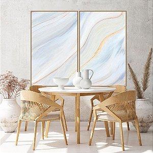 Conjunto com 02 quadros decorativos Abstrato Suave