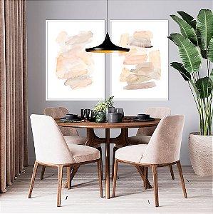 Conjunto com 02 quadros decorativos Abstrato Delicado