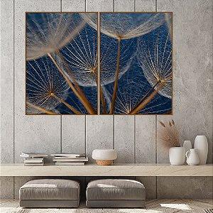 Conjunto com 02 quadros decorativos Dente-de-leão Azul Escuro