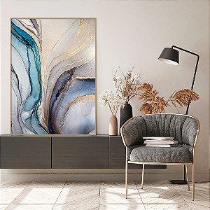 Quadro decorativo Abstrato Azul e Dourado
