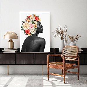 Quadro Decorativo Mulher Floral Vermelho