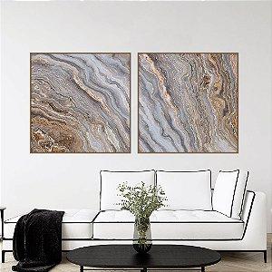 Conjunto com 02 quadros decorativos Marmorizado Bege e Cinza