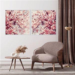 Conjunto com 02 quadros decorativos Galhos Cerejeira