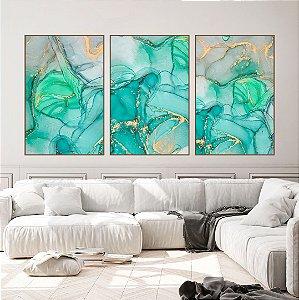 Conjunto com 03 quadros decorativos Abstrato Verde, Azul e Dourado