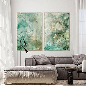 Conjunto com 02 quadros decorativos Abstrato Verde e Dourado