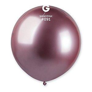 "Balão Látex 19"" 48cm - Shine Rosa - 01 Unidade - Gemar - Rizzo"