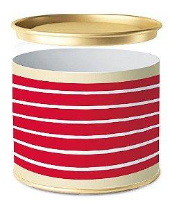 Lata para Bombons Composê Listras Vermelha Horizontal - 01 unidade - Cromus - Rizzo