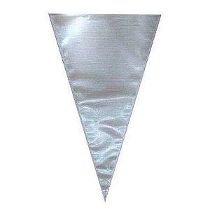 Cone Metalizado Prata 18x30cm - 50 unidades - Cromus - Rizzo