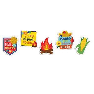 Aplique de Papel Cartão Festa Junina - 08 unidades - Cromus - Rizzo