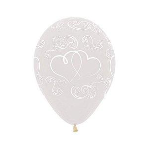 """Balão Decorado 12"""" 28cm - Cristal Corações - 12 Unidades - Sempertex - Rizzo"""
