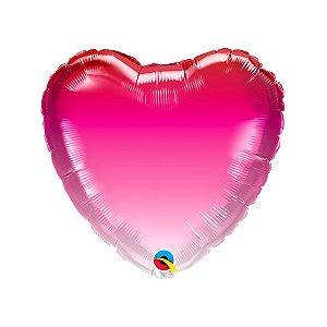 """Balão de Festa Microfoil 18"""" - Coração Rosa Ombre - 01 Unidade - Qualatex - Rizzo"""