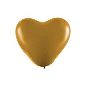 """Balão Coração Látex Cromado 6"""" Ouro - 25 Unidades - Art-Latex - Rizzo"""