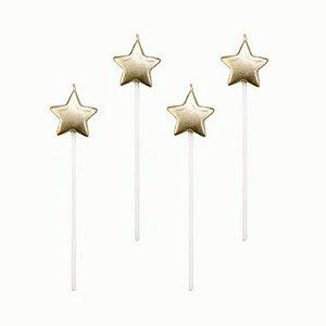Velas estrelas dourada- 4 un -  14 cm - Silver Festas