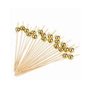 Palito em Bambu p/ petiscos com Bolinhas Douradas - 50 un -  9 cm - Silver Festas