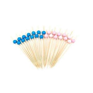 Palito em Bambu p/ petiscos com Bolinhas rosa e azul - 20 un  - Silver Festas