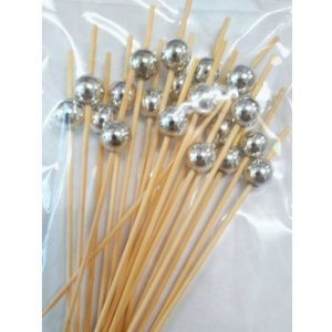 Palito em Bambu p/ petiscos com Bolinhas Prata - 20 un - Silver Festas