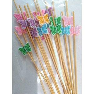 Palito em Bambu p/ petiscos Borboleta colorida - 20 um - 12 cm - Silver Festas